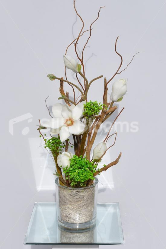 Modern Artificial Fresh Touch Ivory Magnolia And Green Flora Floral Table Arrangement In 2020 Artificial Flower Arrangements Artificial Plants Decor Artificial Flowers