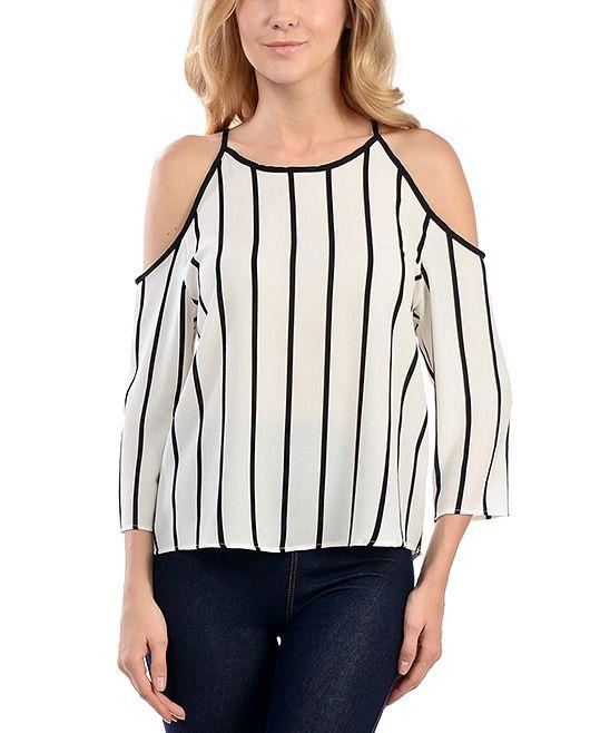 White Stripe Cutout-Shoulder Top