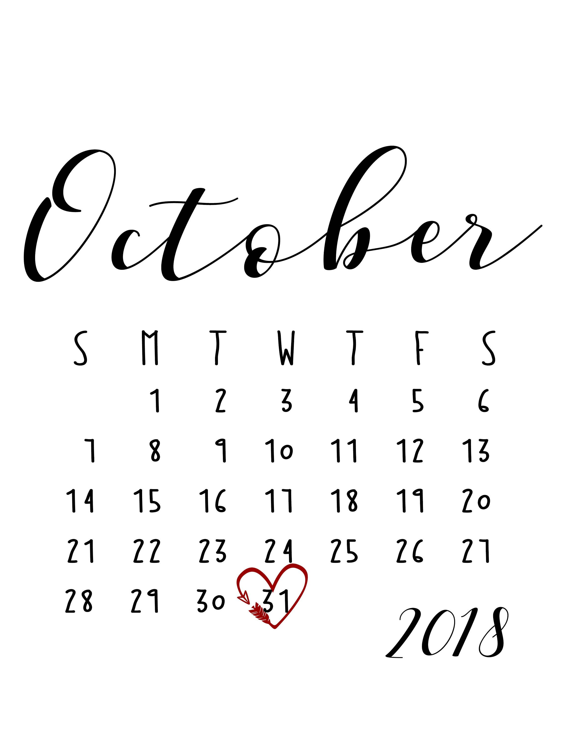 October 2018 Large Number Calendar Desk Calendar Template