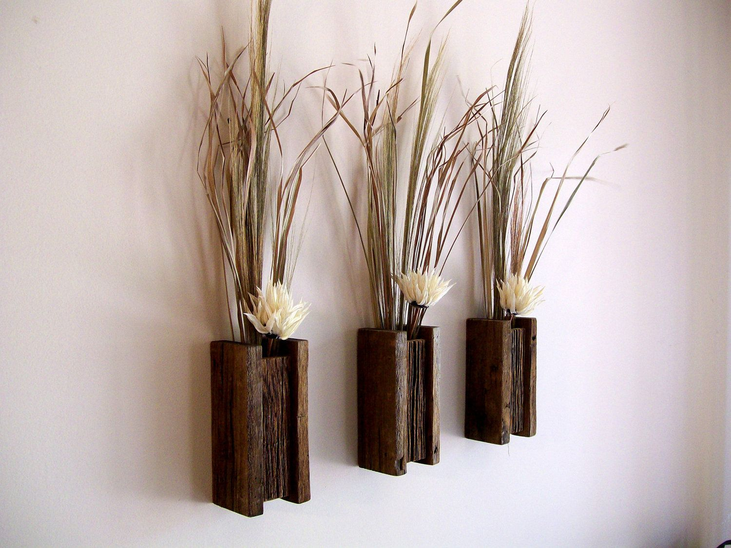 Set Of 3 Rustic Reclaimed Barn Wood Wall Vase Flower