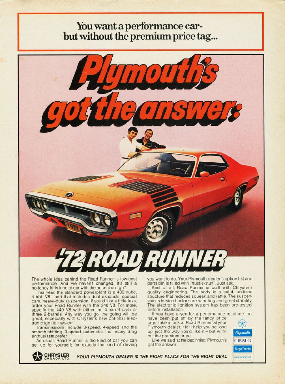 "Canadian Ad ""Plymouth's got the answer"" Ad features a red"