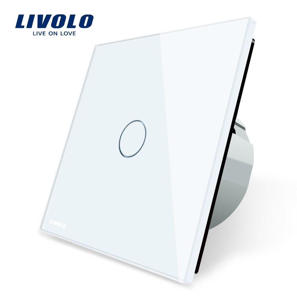 Livolo luxe witte kristal glas, Wandschakelaar, Touch Schakelaar, normale 1 Gang 1 Manier Schakelaar, C701-11/2/3/5