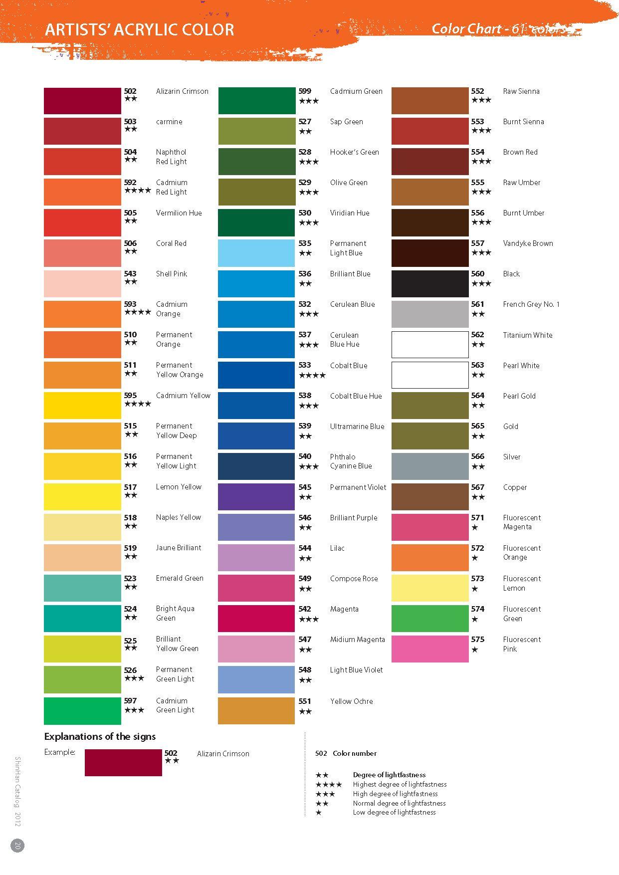 Shinhan Acrylic Paint Color Chart Paint Color Chart Colorful Paintings Acrylic Davies Paint Color