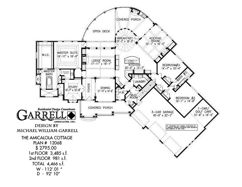 Amicalola cottage house plan 12068 1st floor plan rustic for Luxury bungalow house plans
