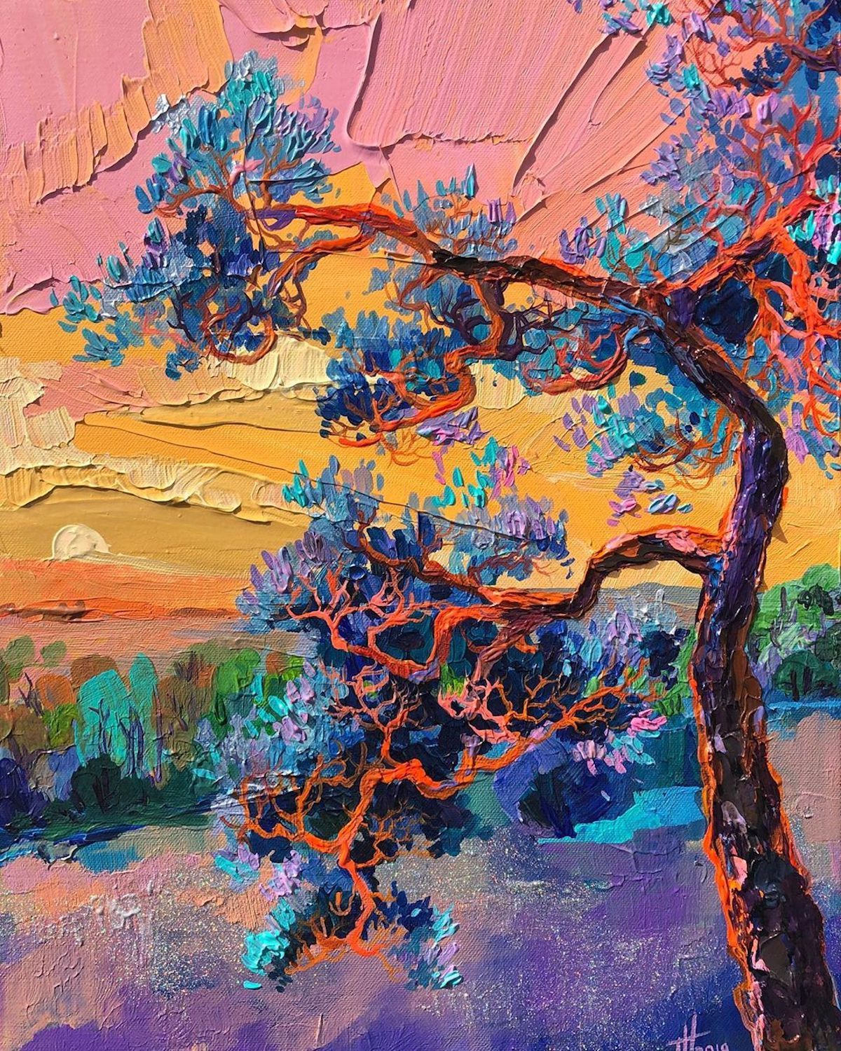 Brilliant Textured Paintings Capture European Countrysides In Kaleidoscopic Colors In 2020 Ladscape Painting Painting Colorful Oil Painting