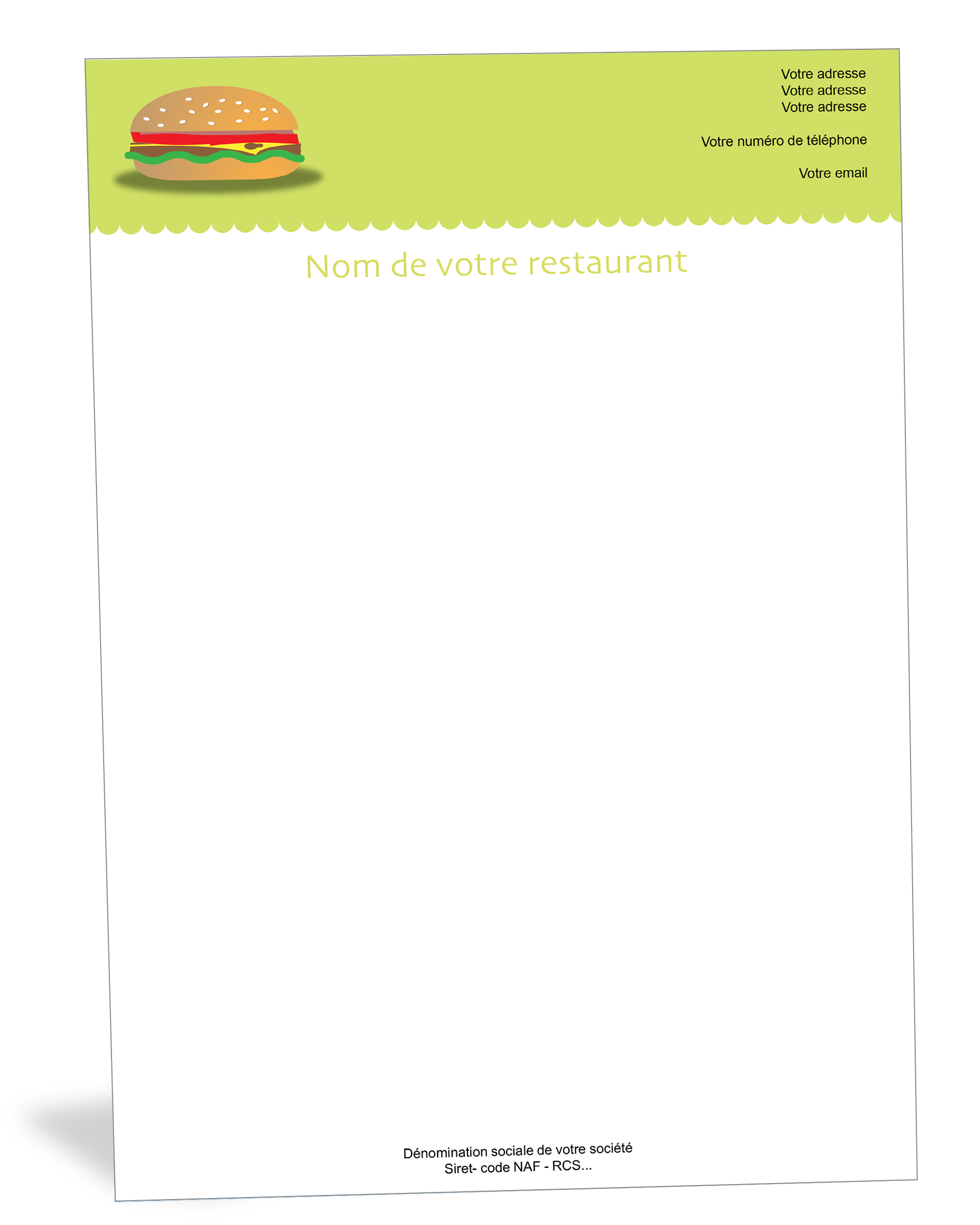 Papier A En Tete Burger Produit Menager Fait Maison Papier Tete De