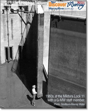 Lock gates, Mildura Lock 11 on the Murray River