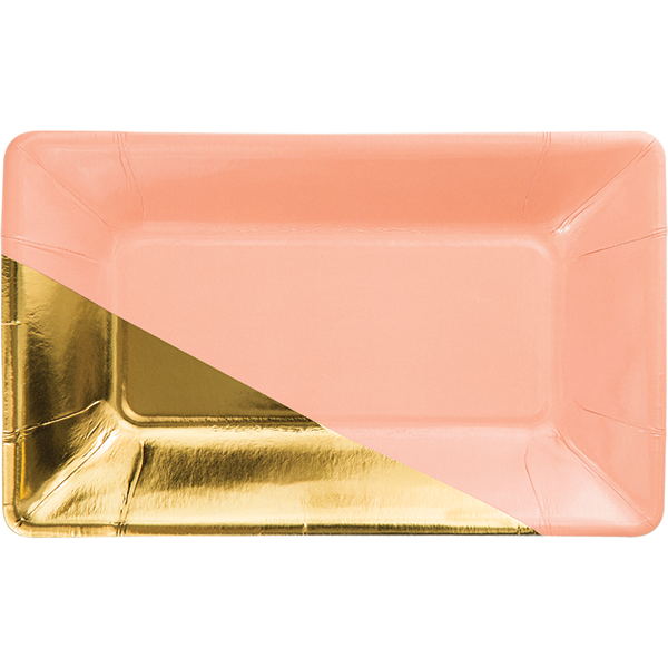 Coral Gold Foil Rectangular Plate Coral Party Plates Coral And Gold Coral Party