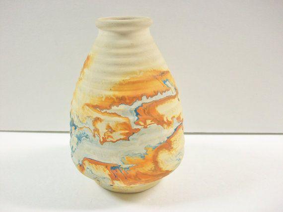 Vintage Nemadji Vase, Ribbed Swirl Tie Dye Cone Earthware Pottery, Ridged…