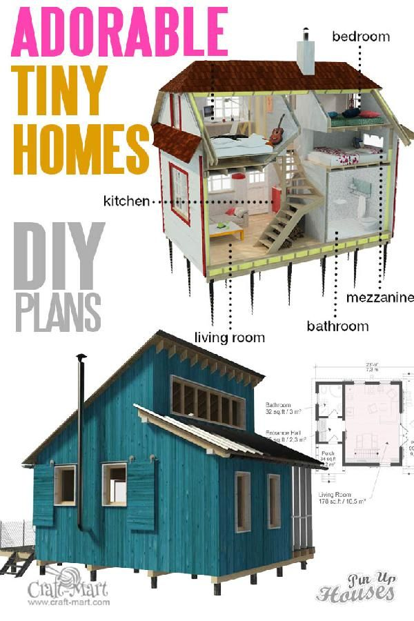 Unique small house plans (tiny homes, cabins, sheds is part of Unique small house plans, Tiny house loft, Tiny beach house, Unique house plans, Small cabin plans, Small house plans - An extensive collection of unique small house plans with cost to build based on actual experience  Dozens of cute cabins, houses, multiroom family homes