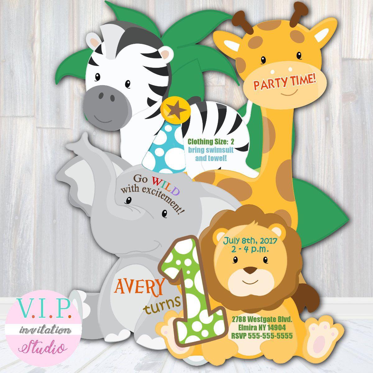 Jungle 1st Birthday Invitation, Safari Birthday