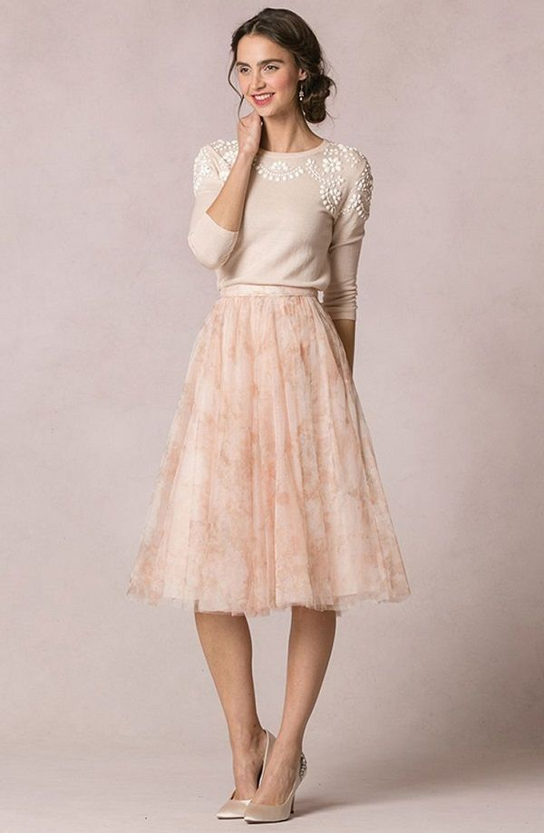 b7362625e7bd Millie sweater and Lucy print skirt Jenny Yoo Collection – New for 2016!