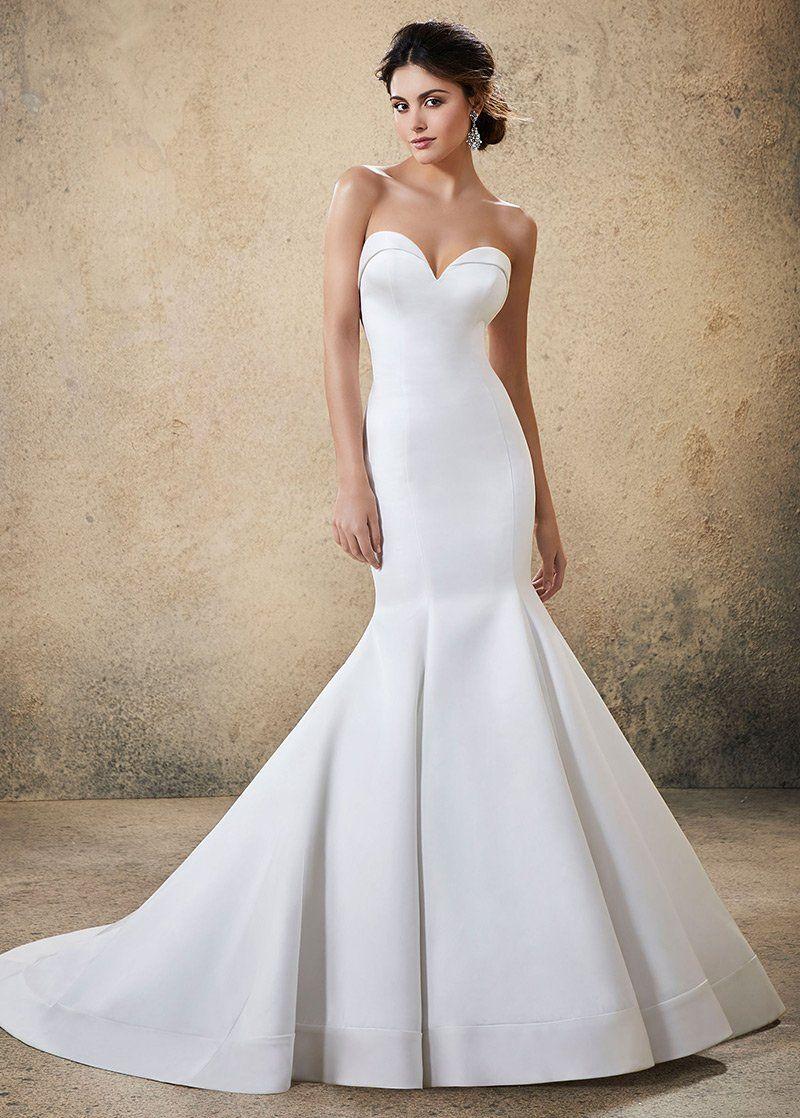 Wedding Dresses Simple, Modern Satin Sweetheart Neckline