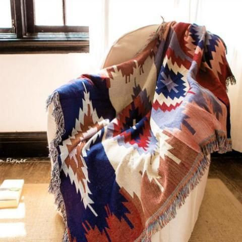 Pleasing Aztec Throw Blanket Boho Kilim Style Brown Beautiful Gmtry Best Dining Table And Chair Ideas Images Gmtryco