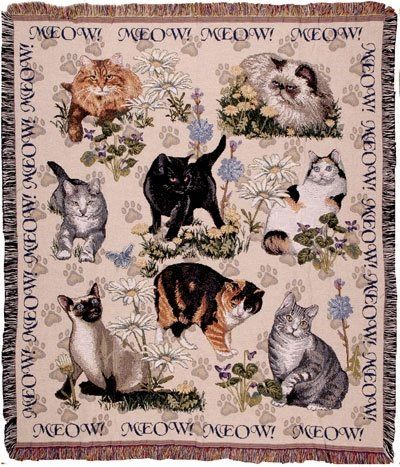 This beautifully detailed, tapestry throw blanket is the cat's meow!  What a delightful gift for any cat lover.