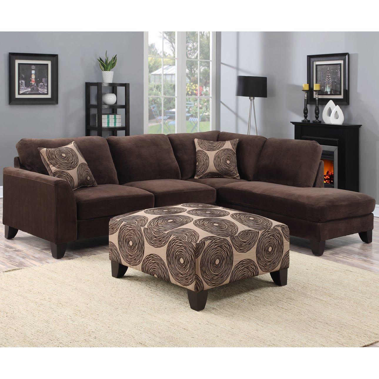 Cojines Sofa Chocolate.Porter Malibu Chocolate Brown Sectional Sofa With Ottoman