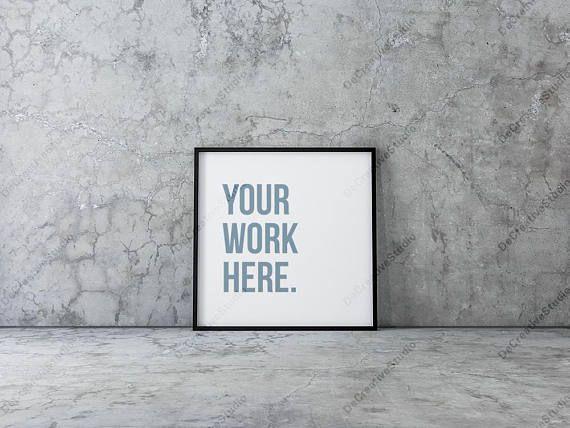 square poster mockup with black frame
