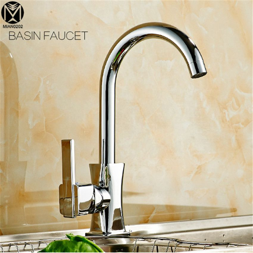Kitchen Faucet Solid Brass Polish Chrome Mixer Single Handle Single Hole Type G Kitchen Tap Sink Faucet Basin TAP