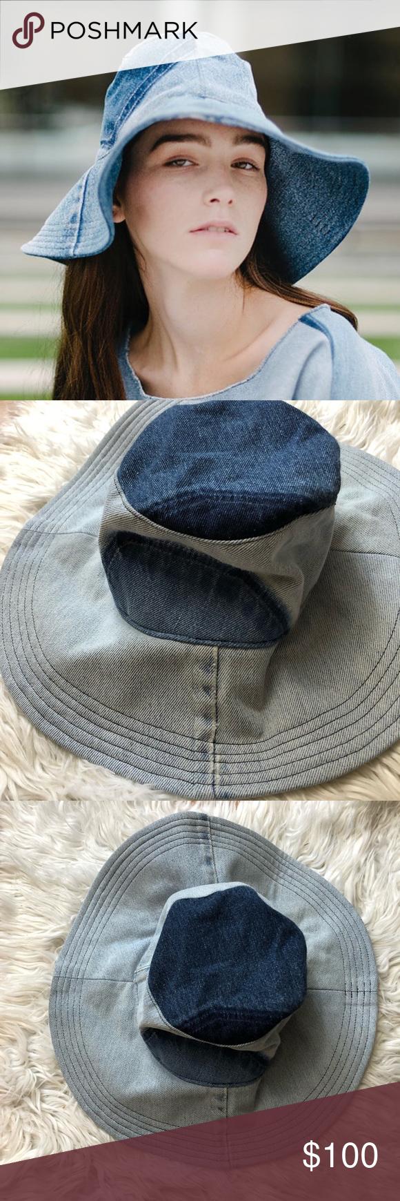 c3791a5856055 Womens Noorism Audrey Hat In Medium Denim Upcycled denim wide brim sun hat.  Inspired by