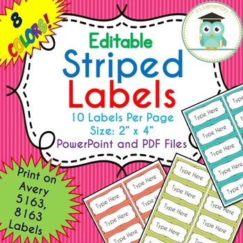 striped labels editable classroom notebook folder name party avery