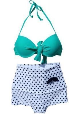 526e893cd4 Naughty Front Tie High Waisted Polka Dot Retro Swimsuit