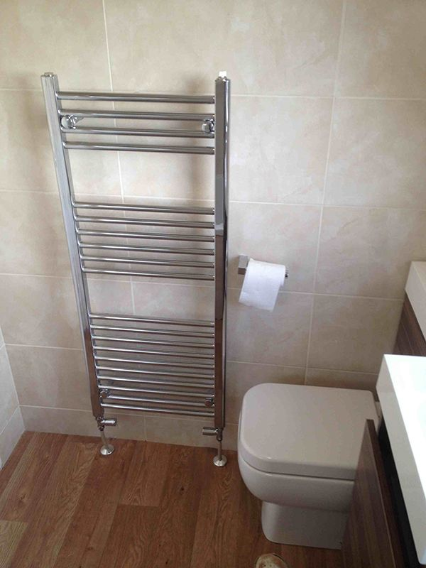 Stylish Chrome Towel Radiator in an installation project by UK Bathroom Guru. Stylish Chrome Towel Radiator in an installation project by UK