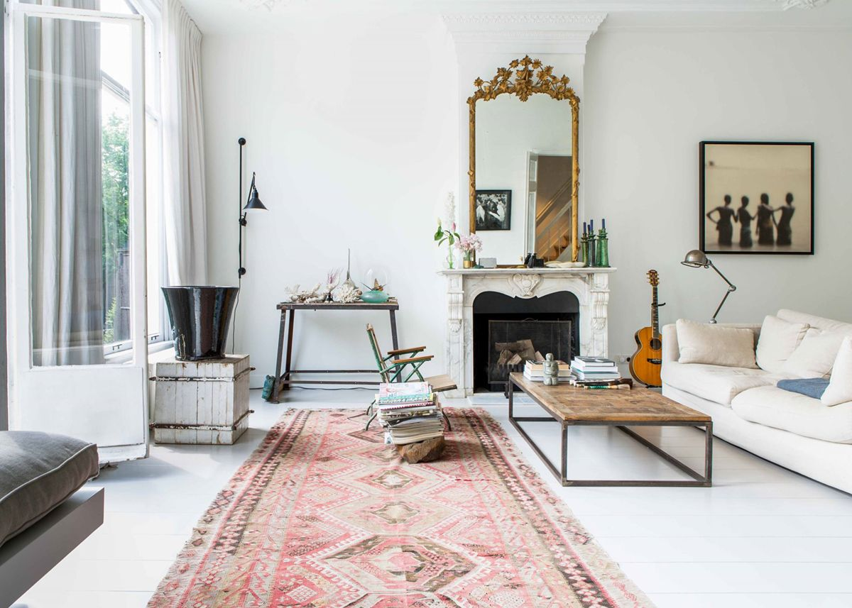a fresh curated eclectic white living room | house tour on coco kelley