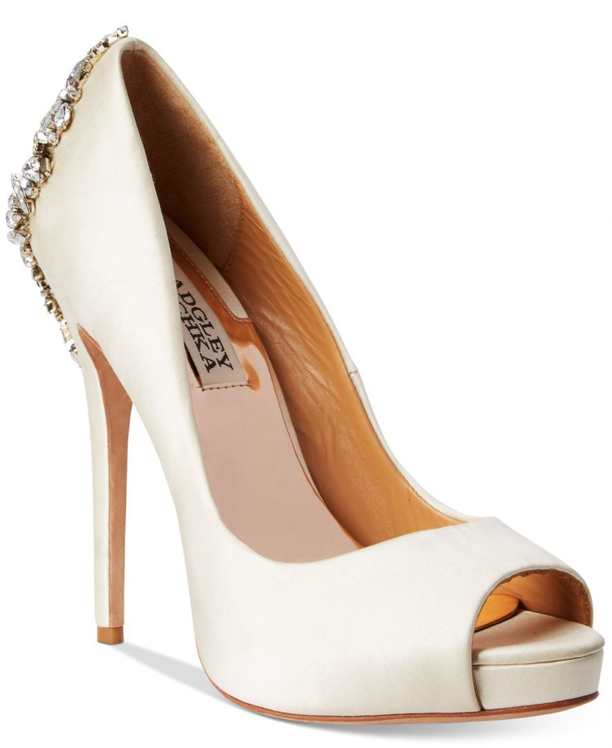 9fb46d6d6b85 Badgley Mischka Kiara Embellished Peep-toe Pump Wedding shoes