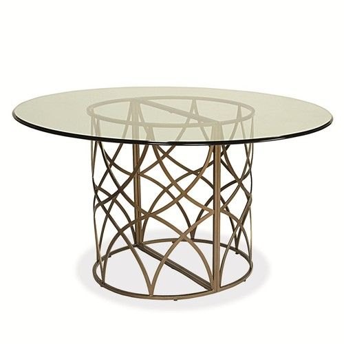 Latitude Round Glass Table With Metal Abstract Base By Universal   Baeru0027s  Furniture   Dining Room