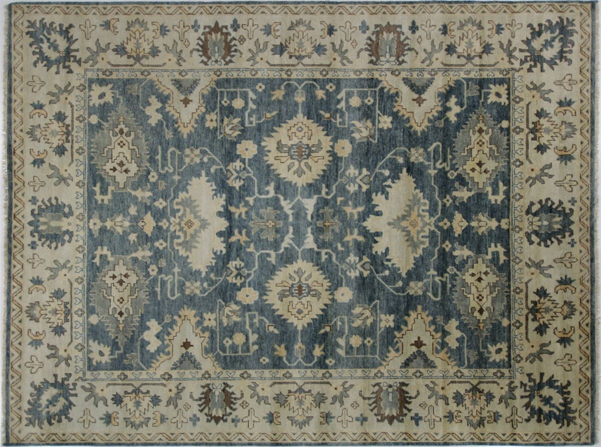 Fish Design Oushak Hand Knotted Wool Rug 8 9 X 11 7 H8339