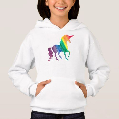 Cool Rainbow Unicorn Watercolor Kids Beautiful Hoo