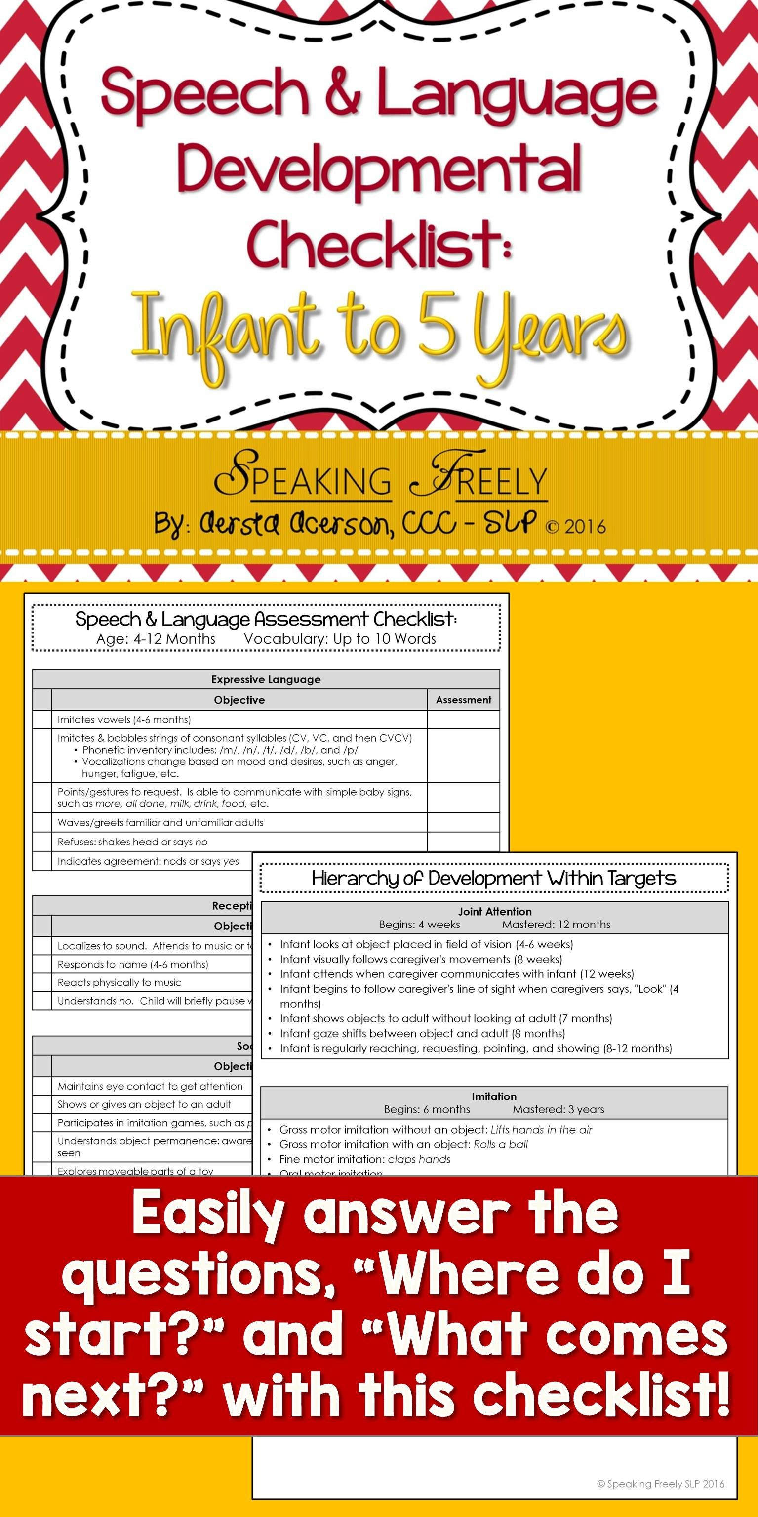 Speech Amp Language Dev Checklist Infant To 5 Years