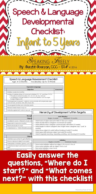 Speech Amp Language Dev Checklist Infant To 5 Years