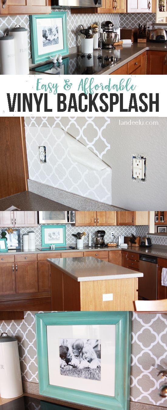 Kitchen Backsplash Video easy vinyl backsplash for the kitchen | vinyl backsplash, kitchens