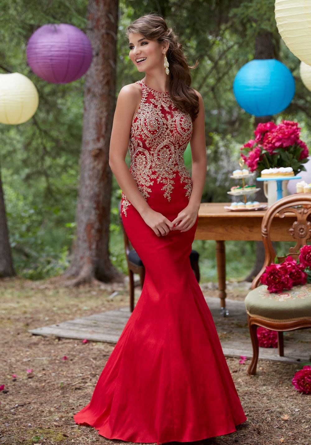 Red Royal Blue Taft Nixe-abschlussball Lange 2017 Sleeveless Gold ...