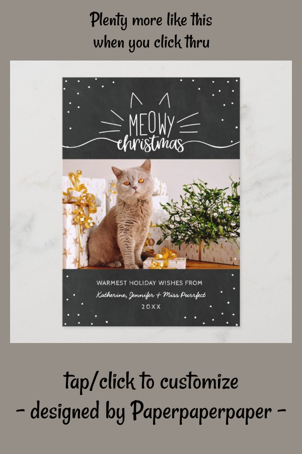 Meowy Christmas Cat Christmas Photo Holiday Card Zazzle Com In 2020 Holiday Photo Cards Christmas Cats Meowy Christmas