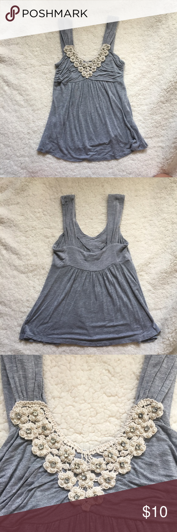 Gray Dressy Top ✨ Absolutely beautiful gray top with crochet and rhinestone detail. Only been worn once and there are no signs of wear 👍🏼  Make an offer 😄 Forever 21 Tops Blouses