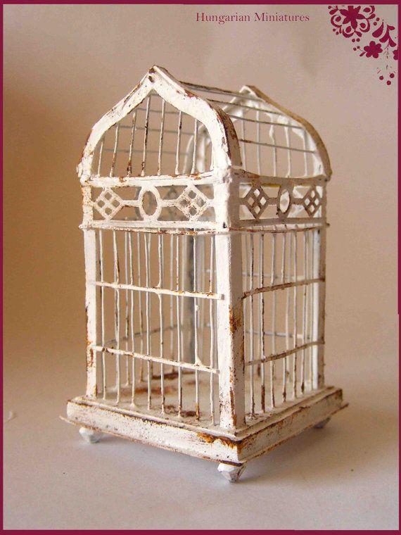 Shabby White Birdcage Bird Cage Antique Bird Cages Bird Houses