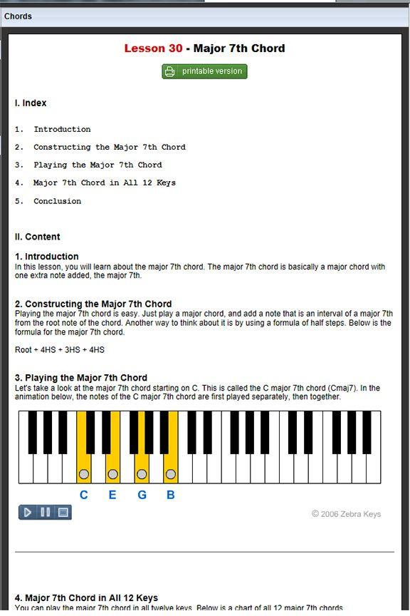 Free Online Piano Lessons Lesson 30major 7th Chord Learn Chords