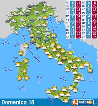 Meteo Cartina Italia.Domenica 18 Ottobre Settembre