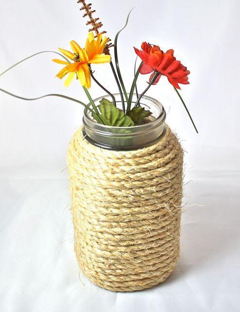 Nautical Rope Wrapped Mason Jar, white sisal rope, rustic or barn themes, quart jar, use as vase, centerpiece, wedding decor via Etsy