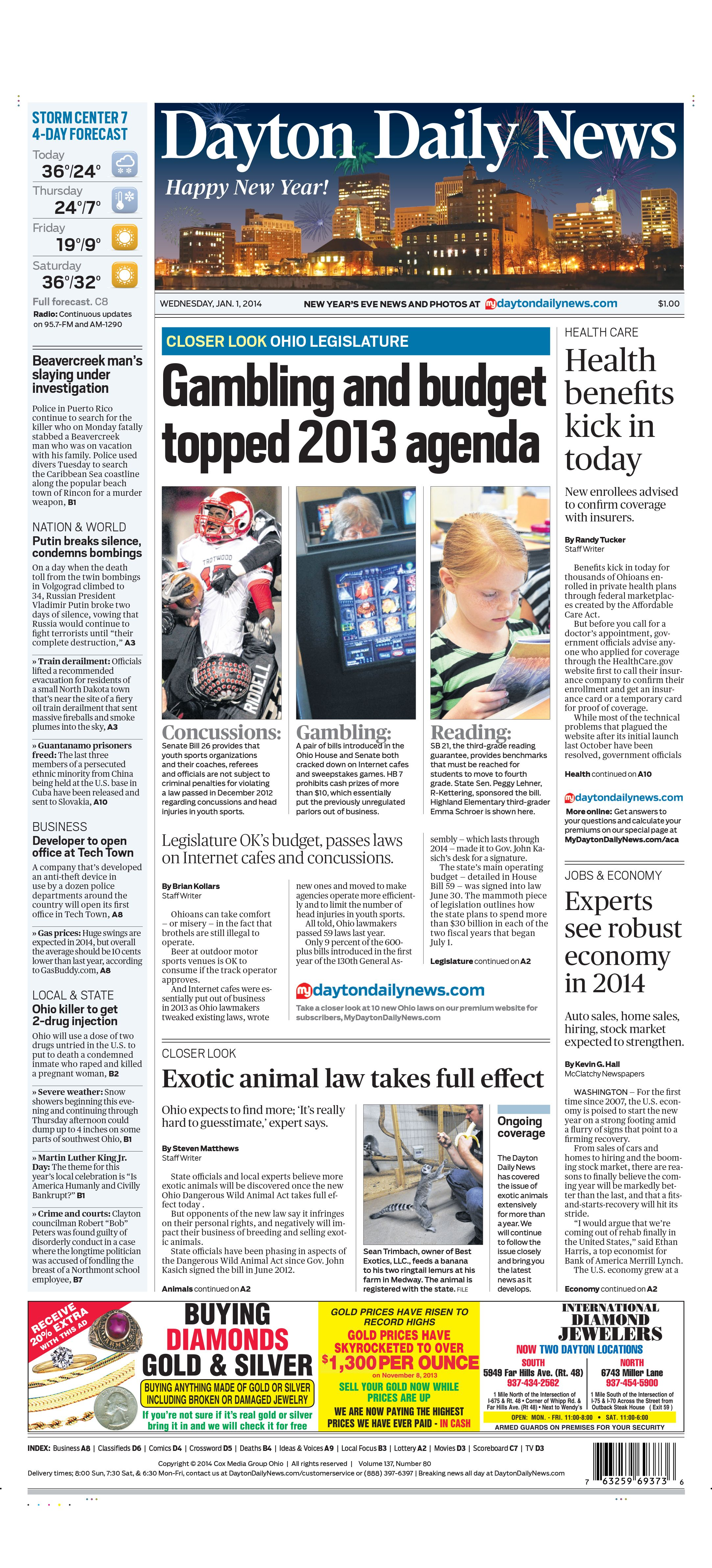 Dayton Daily News Front Page For January 1 2014 News Design Nyd Dayton Journal News Daily News