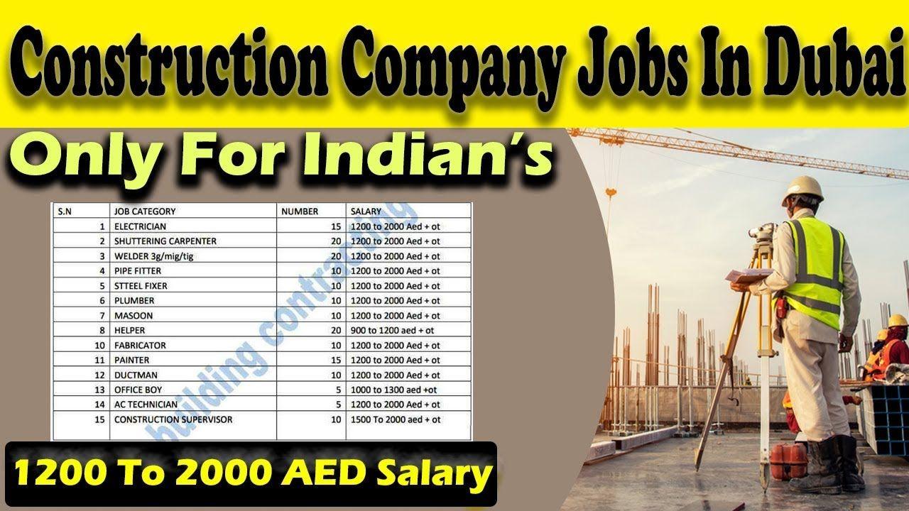 Construction Company Jobs In Dubai for Indians Dubai