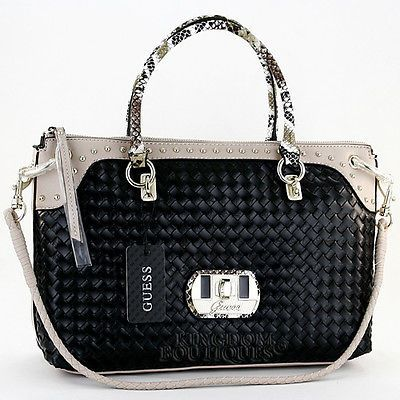 e7c0b0416b Jet Set Large Saffiano Leather Crossbody. New GUESS Purse Womens Handbag  Kiera Satchel Shoulder Black Multi Logo Sac NwT