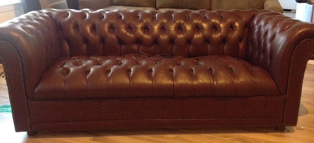 Leather Tufted Chesterfield Needs Tlc