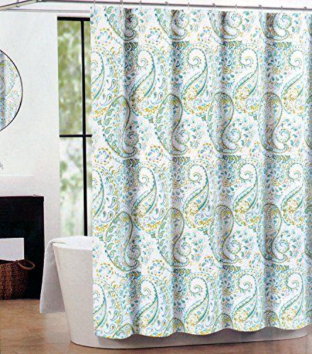 Nicole Miller Luxury Cotton Blend Shower Curtain Teal Green Gray