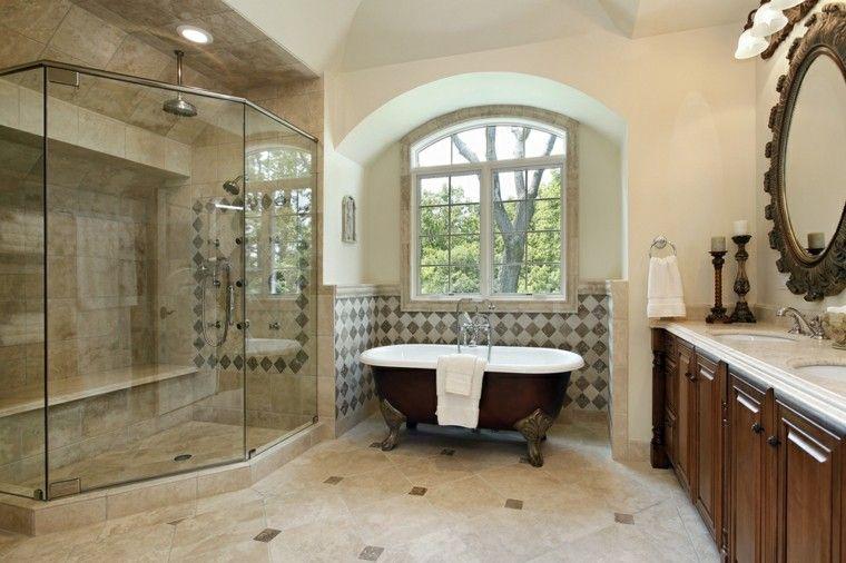 baño espacioso con bañera negra y ducha Baño Pinterest Baño