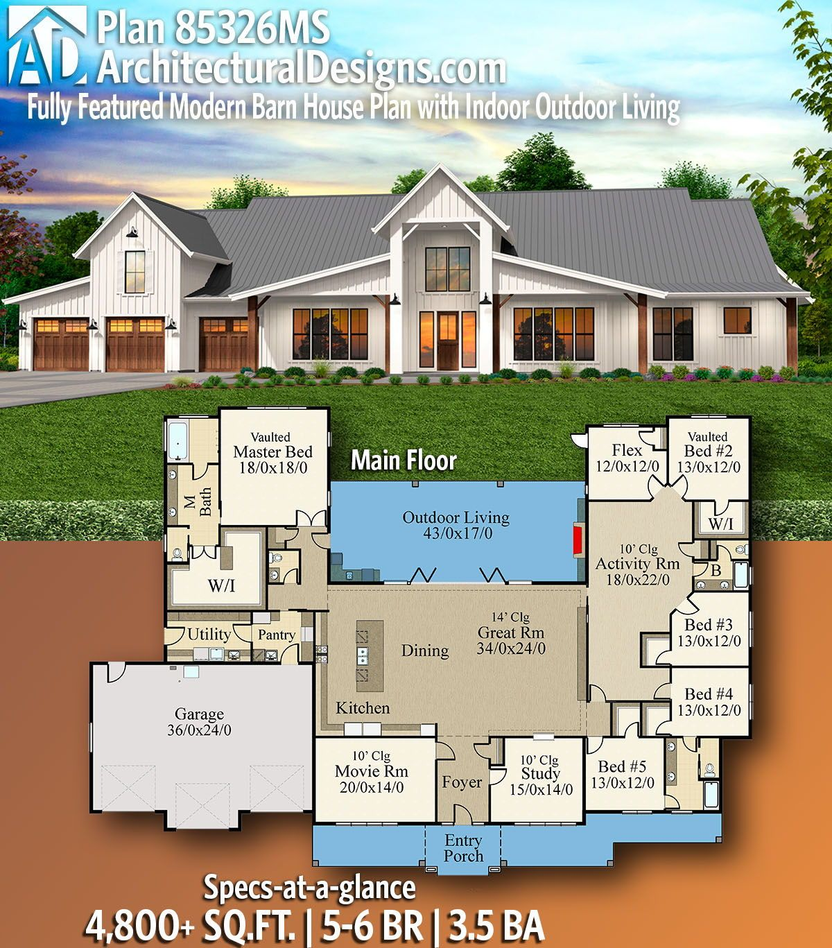 Plan 85326ms Fully Featured Modern Barn House Plan With Indoor Outdoor Living Modern Barn House Barn House Plans Barn Style House