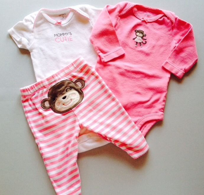 842d0dcf41e8 Carter s Baby Girl 0-3 Months Clothes Onesies Pants Pink Monkey Lot ...