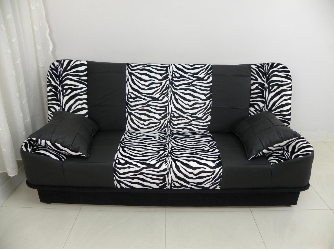 Sofa Bed LARA Zebra Print Fabric + Real Cow Hide Leather £350+del Www
